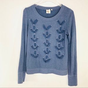 Anthropologie| Lilka Braided Blue Sweatshirt Small